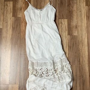 White Linen and Lace maxi dress size small